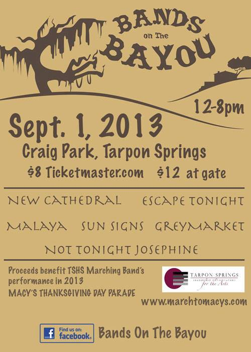 Bands on The Bayou- Benefit show in Tarpon Springs with New Cathedral and GreyMarket
