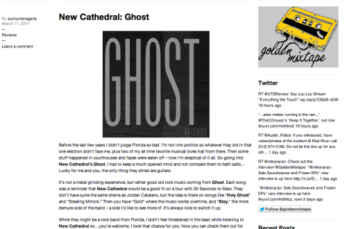 Tampa Band New Cathedral Sophomore Album Review by Music Blog The Golden Mixtape on Tumblr And WordPress Webzine