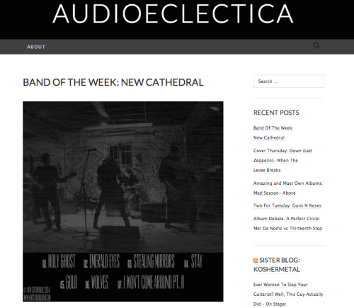 Tampa Florida Rock Band New Cathedral Named Artist Of The Week at AudioEclectica WordPress Music Blog For April 2014 In Promotion of Ghost Ep and single Stealing Mirrors